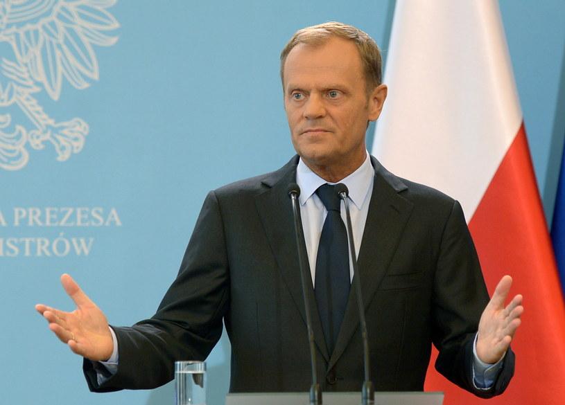 Premier Donald Tusk, podczas oświadczenia dla mediów. /Radek Pietruszka /PAP