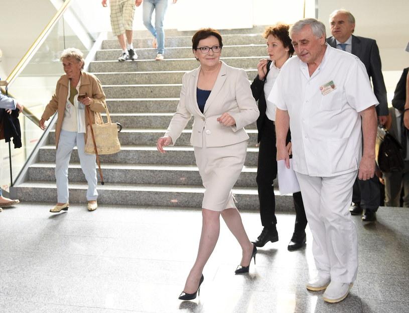Premier Ewa Kopacz i dyrektor szpitala prof. dr hab. n. med. Wojciech Witkiewicz /Radek Pietruszka /PAP