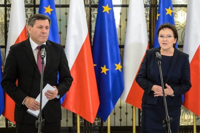 Premier Ewa Kopacz i wicepremier Janusz Piechociński /Jakub Kamiński   /PAP