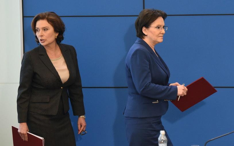Premier Ewa Kopacz (P) oraz Małgorzata Kidawa-Błońska (L) /Radek Pietruszka /PAP