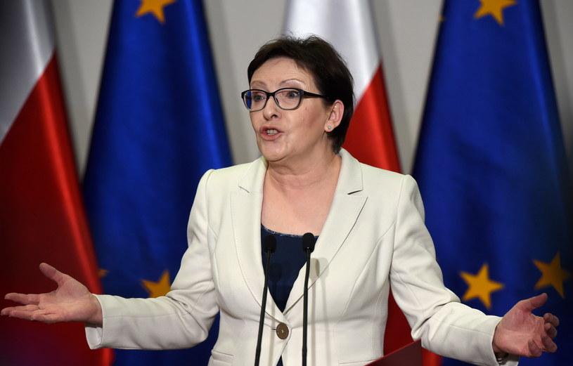 Premier Ewa Kopacz podczas konferencji prasowej po posiedzenia Rady Ministrów /Radek Pietruszka /PAP