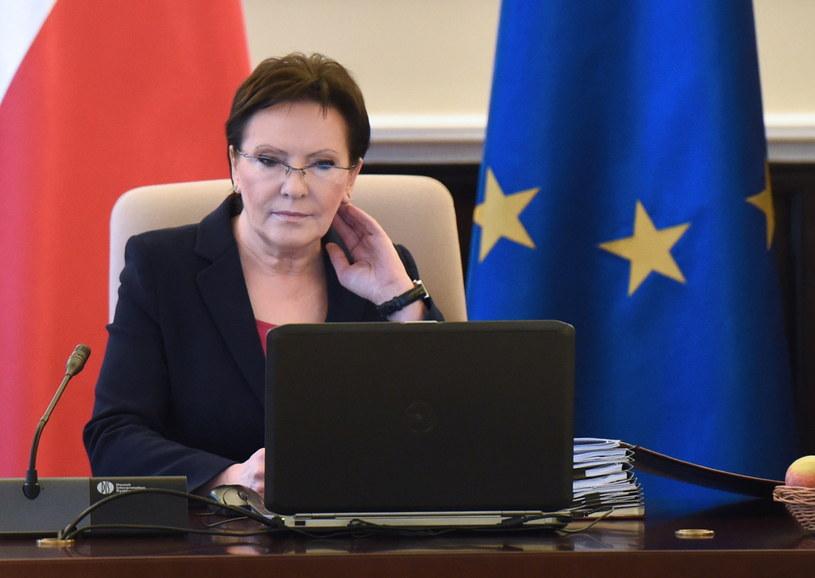 Premier Ewa Kopacz podczas posiedzenia /Radek Pietruszka /PAP