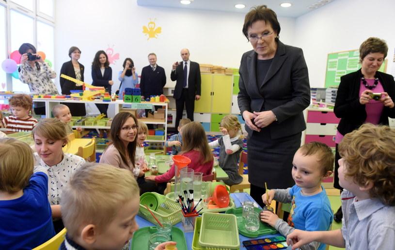 Premier Ewa Kopacz podczas spotkania w uniwersyteckim przedszkolu Uniwersytetu Łódzkiego /Grzegorz Michałowski /PAP