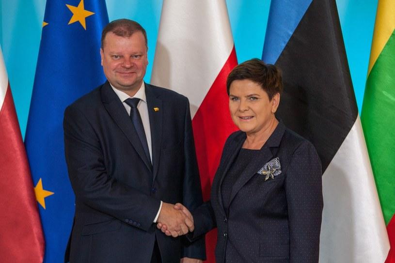 Premier Litwy Saulius Skvernelis i była premier Beata Szydło /fot. Pawel Wisniewski /East News
