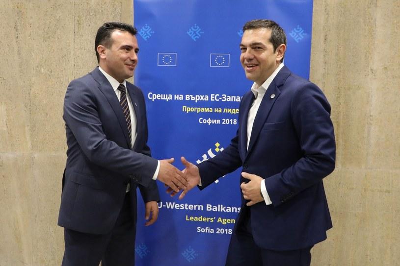 """Premier Macedonii Zoran Zaew z premierem Grecji Aleksisem Ciprasem znaleźli """"rozwiązanie możliwe do zaakceptowania"""" w sprawie sporu o nazwę kraju /LUDOVIC MARIN /East News"""