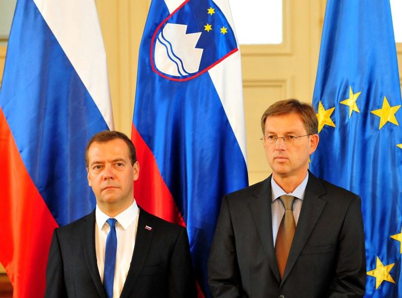 Premier Słowenii w towarzystwie premiera Rosji /IGOR KUPLJENIK /PAP/EPA