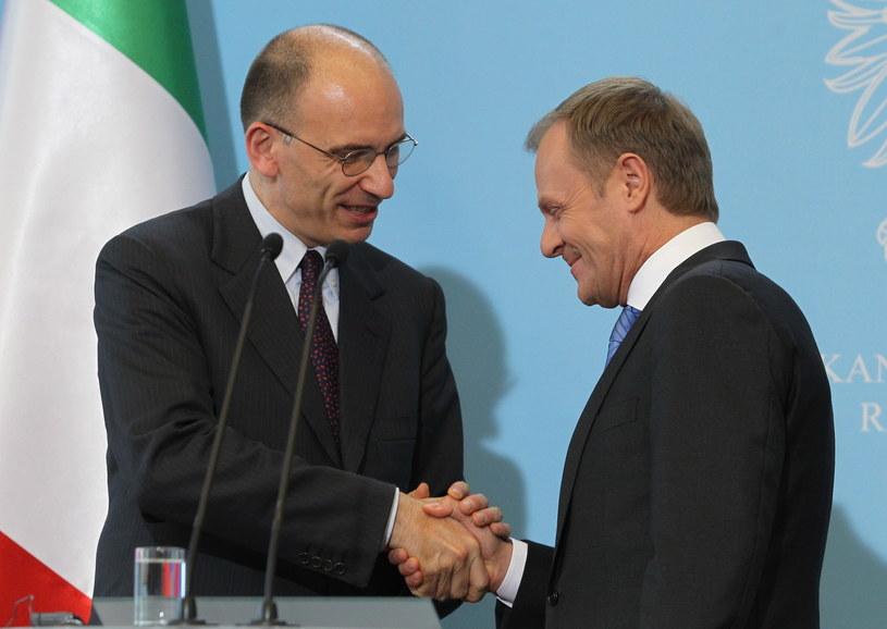 Premier Włoch Enrico Letta i Donald Tusk /Radek Pietruszka /PAP