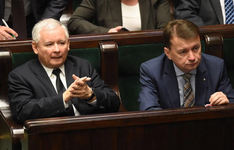 Prezes PiS Jarosław Kaczyński i szef KP PiS Mariusz Błaszczak /Radek Pietruszka /PAP