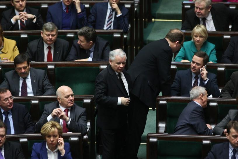 Prezes PiS Jarosław Kaczyński w czasie posiedzenia Sejmu /Rafał Guz /PAP