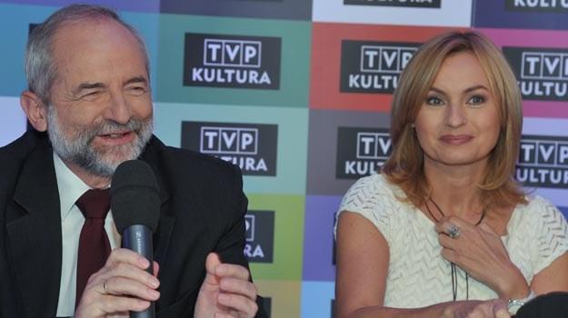 Prezes TVP Juliusz Braun i dyrektor TVP Kultura Katarzyna Janowska na konferencji prasowej. /TVP