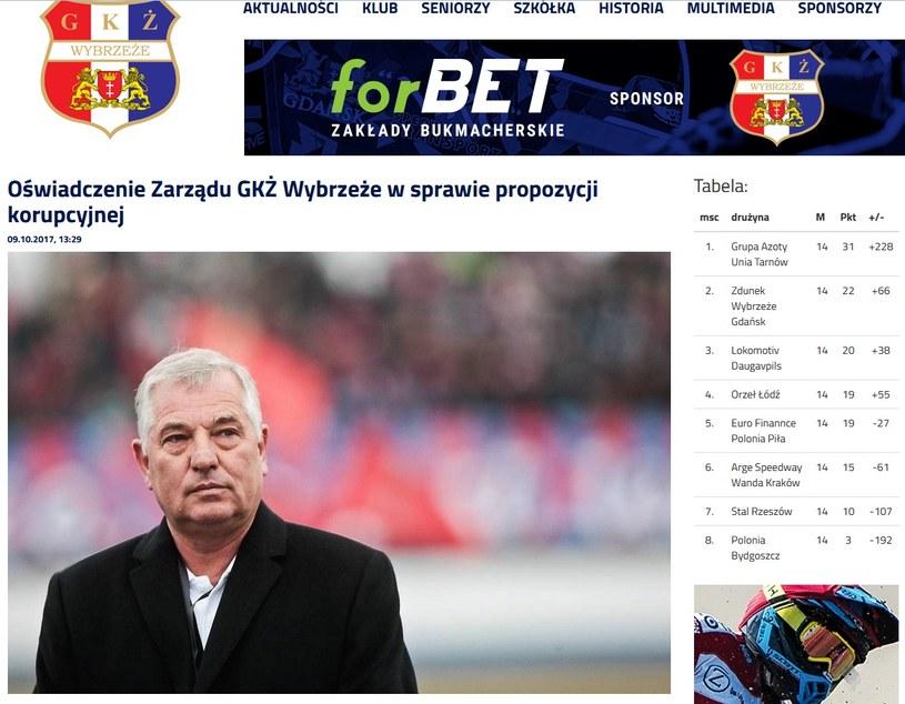Prezes Wybrzeża Gdańsk Tadeusz Zdunek twierdzi, że ma twarde dowody na to, że jeden z jego zawodników otrzymał propozycję korupcyjną; źródło: wybrzezegdansk.pl /