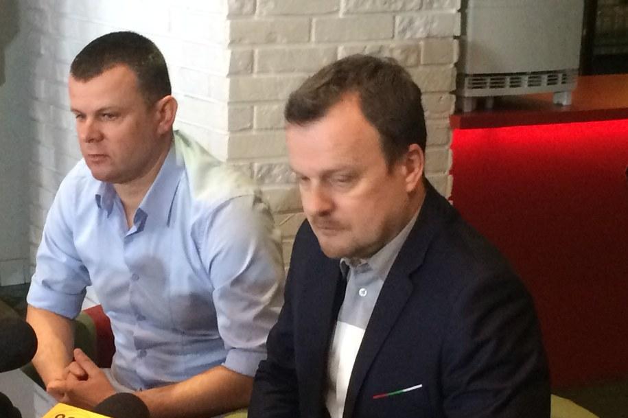 Prezes Zagłębia Sosnowiec Marcin Jaroszewski i prezydent Sosnowca Arkadiusz Chęciński /Anna Kropaczek /RMF FM