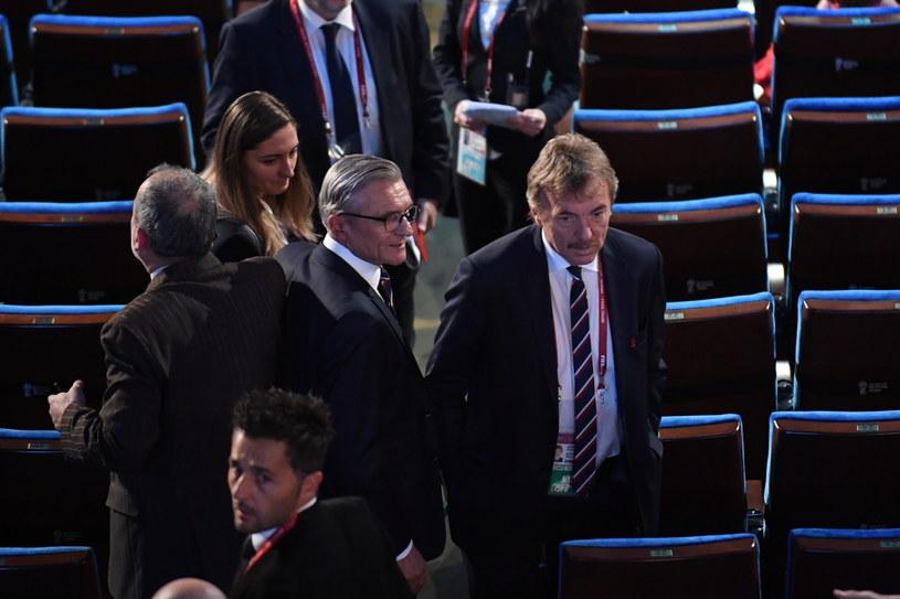 Prezes Zbigniew Boniek (z prawej), obok selekcjoner Adam Nawałka /Fot. Bartłomiej Zborowski /PAP