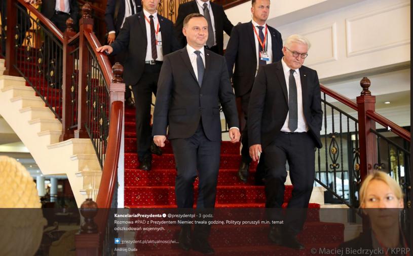 Prezydenci Polski i Niemiec; Zdjęcie opublikowane przez Kancelarię Prezydenta /Twitter