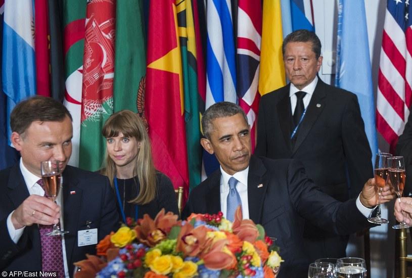 Prezydent Andrzej Duda i prezydent Barack Obama /AFP
