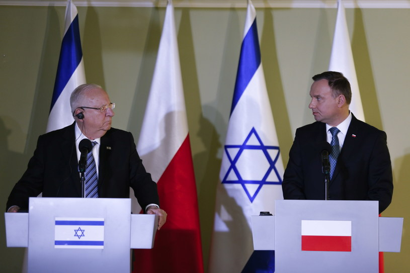 Prezydent Andrzej Duda (P) i prezydent Izraela Reuven Riwlin (L) / Andrzej Grygiel /PAP