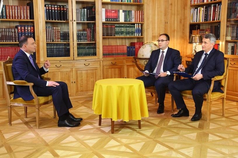 Prezydent Andrzej Duda, Paweł Czuryło i Krzszysztof Fijałek /INTERIA.PL