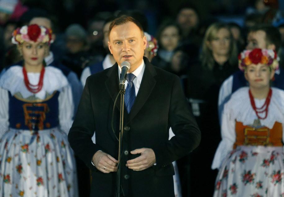 Prezydent Andrzej Duda podczas spotkania z mieszkańcami Siemianowic /Andrzej Grygiel /PAP