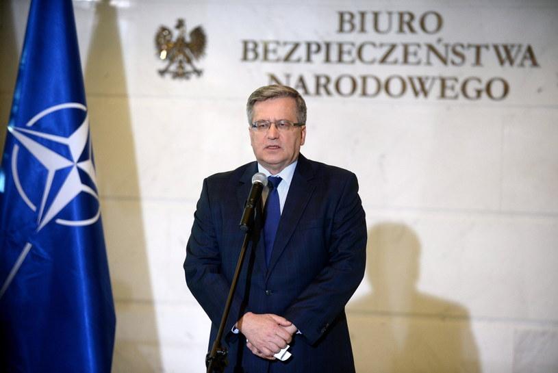Prezydent Bronisław Komorowski podczas konferencji prasowej /Bartłomiej Zborowski /PAP