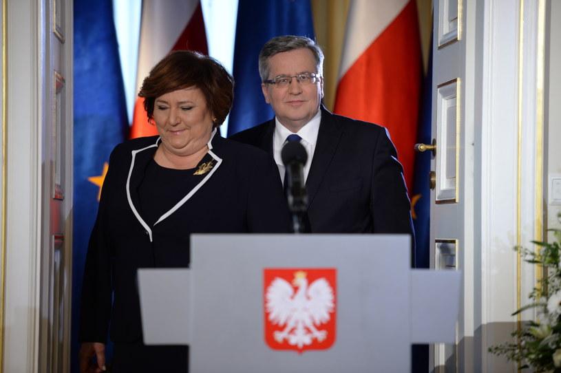 Prezydent Bronisław Komorowski z żoną Anną /Jacek Turczyk /PAP