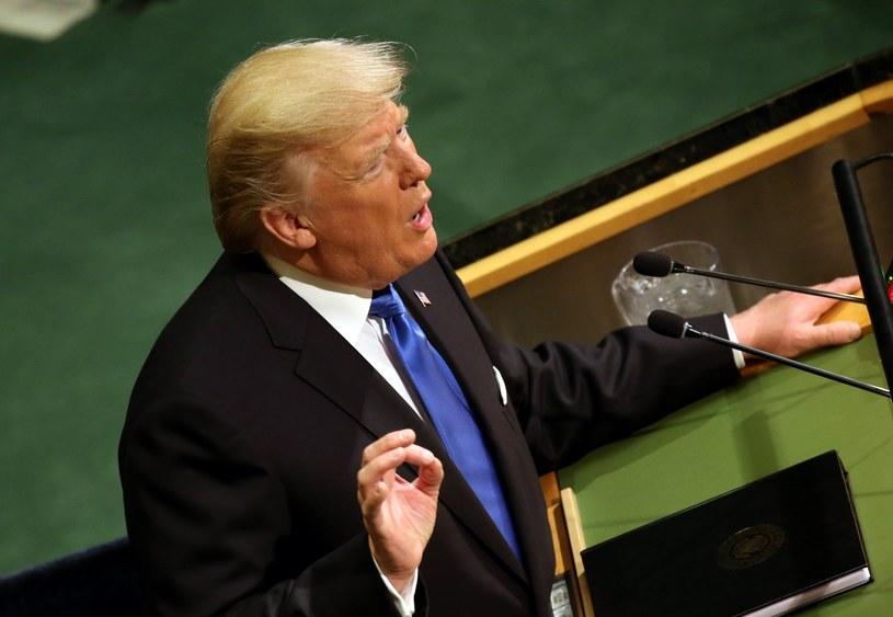 Prezydent Donald Trump podczas przemówienia na forum Zgromadzenia Ogólnego ONZ /Peter Foley /PAP/EPA