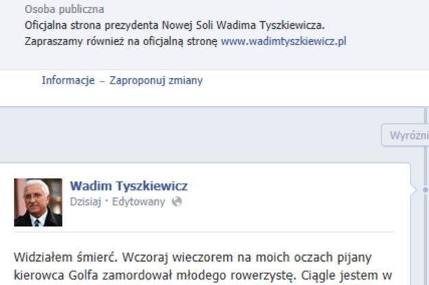 Prezydent opisał zdarzenie na Facebooku /RMF