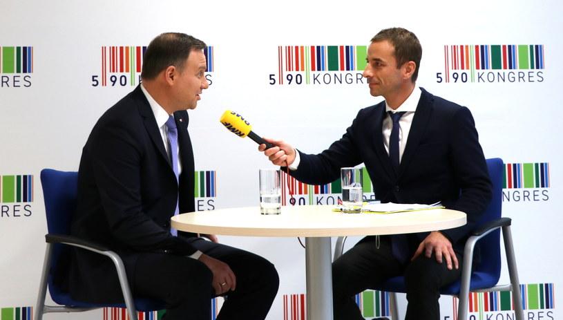 Prezydent RP Andrzej Duda i dziennikarz RMF FM Michał Zieliński /Jacek Skóra /RMF FM