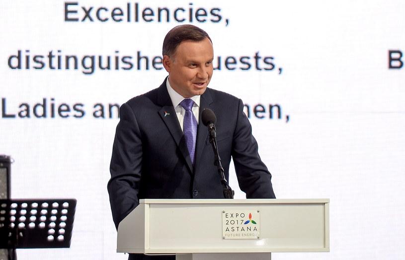 Prezydent RP Andrzej Duda podczas Narodowego Dnia Polskiego na Astana EXPO 2017 /Marcin Obara /PAP