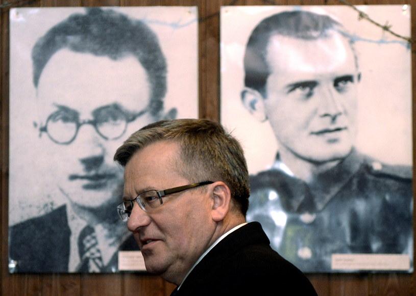 Prezydent RP Bronisław Komorowski zwiedza ekspozycję historyczno-dydaktyczną w Pustkowie /Darek Delmanowicz /PAP