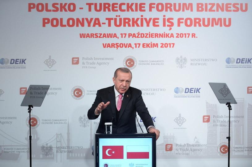 Prezydent Turcji w Warszawie /Marcin Obara /PAP