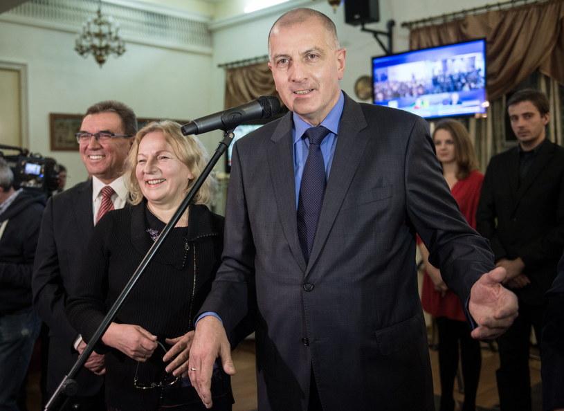 Prezydent Wrocławia Rafał Dutkiewicz z żoną Anną /Maciej Kulczyński /PAP
