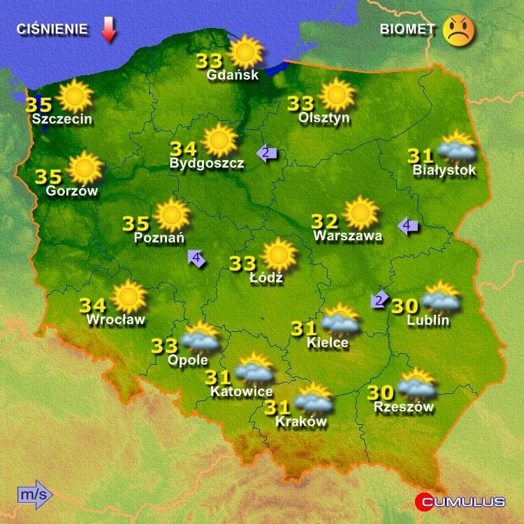 Prognoza pogody na poniedziałkowe popołudnie  /Fot. Cumulus