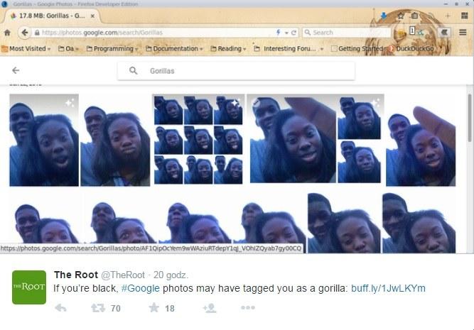 Program uznał czarnoskórą dziewczynę za goryla /Twitter