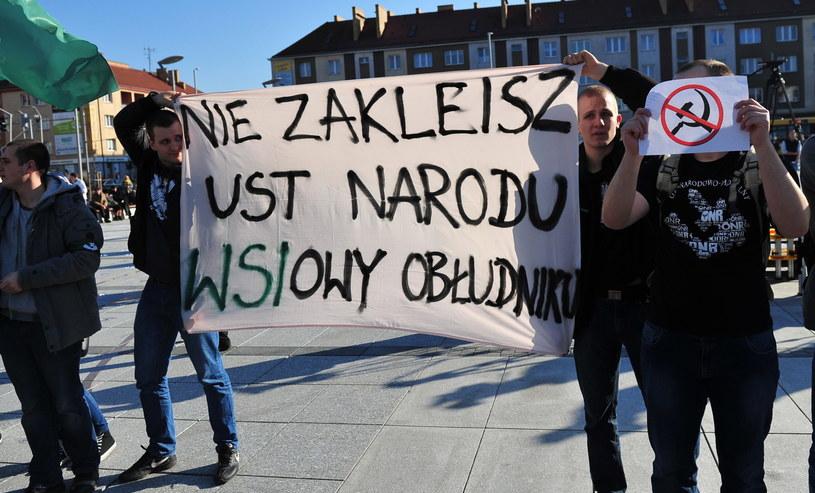 Protest podczas wizyty prezydenta w Koszalinie /Marcin Bielecki /PAP