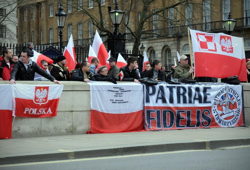 Protest przeciwko dyskryminacji Polaków żyjących w Wielkiej Brytanii. /Ela Walenda /PAP