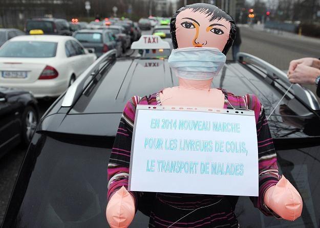 Protest taksówkarzy w Strasbourgu /AFP