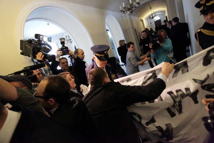 Protest w Sejmie /Grzegorz Jakubowski /PAP