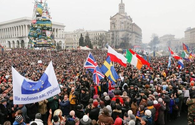 Protestujący na Majdanie Niepodległości /PAP/EPA/SERGEY DOLZHENKO /PAP/EPA