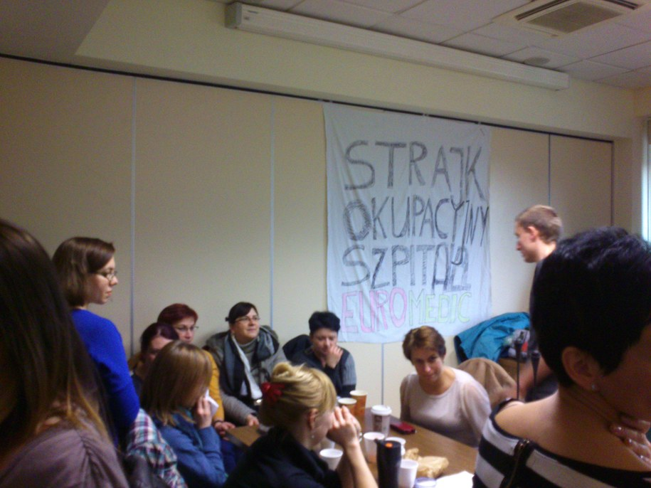 Protestujący pracownicy szpitala Euromedic /Anna Kropaczek /RMF FM