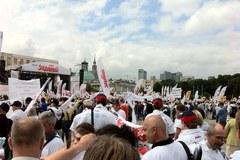 Protesty związkowców w Warszawie