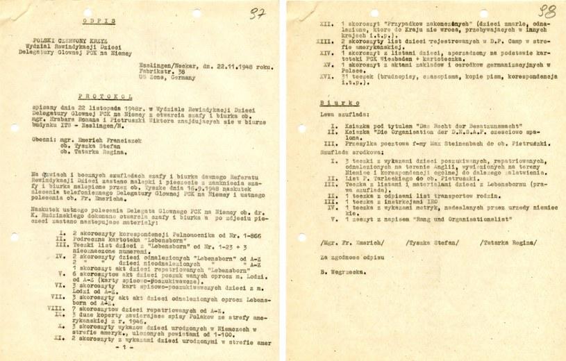Protokół z otwarcia szafy i biurka Romana Hrabara i WIktora Pietruszki. Dokument znajduje się w Archiwum Akt Nowych /INTERIA.PL