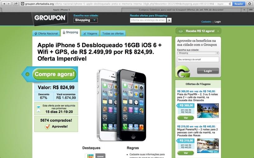 Przechwycona pułapka phishingowa kusiła internautów ofertą zakupu nowego iPhone za 825 brazylijskich reali, czyli nieco ponad 1200 zł /materiały prasowe