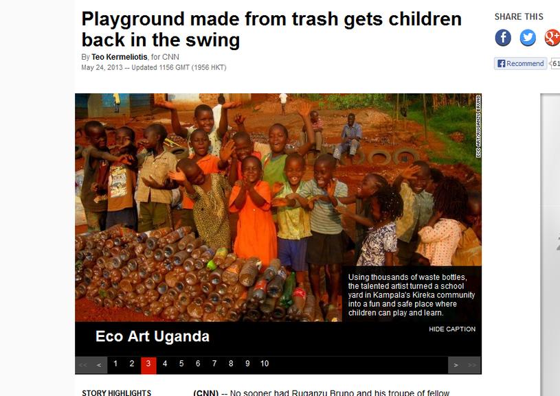 Przecięcie wstęgi podczas otwarcia ekologicznego placu zabaw w Kampalii. /CNN/x-news