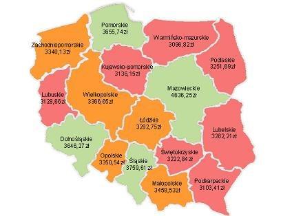 Przeciętne miesięczne wynagrodzenie w gospodarce według województw w 2011 r. /