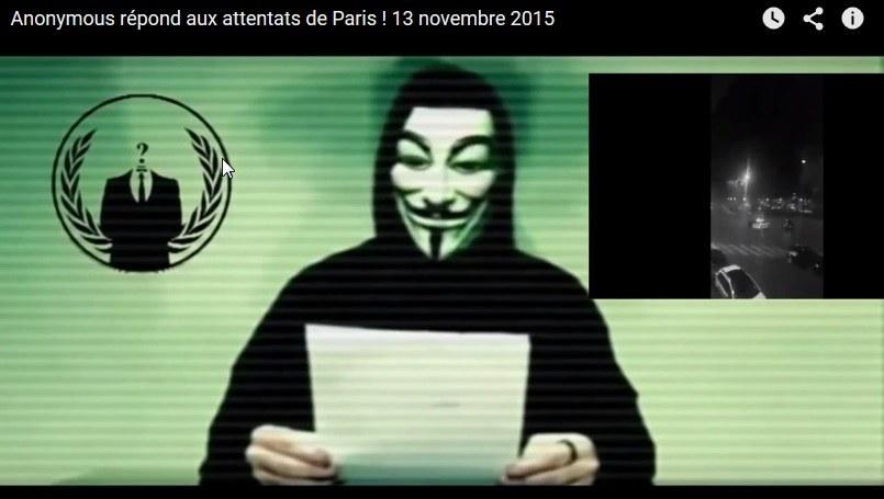 Przedstawiciel Anonimowych wypowiada wojnę ISIS /YouTube