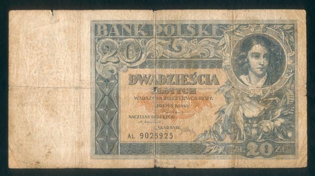 Przedwojenny polski banknot /Leszek Kasprzak /Agencja FORUM