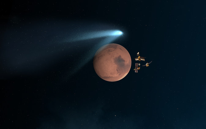 Przelot komety blisko Marsa - artystyczna wizja /AFP