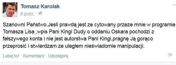 Przeprosiny Tomasza Karolaka /facebook.com