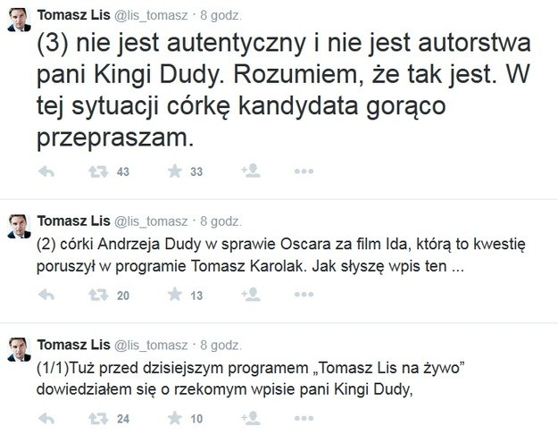 Przeprosiny Tomasza Lisa /Twitter