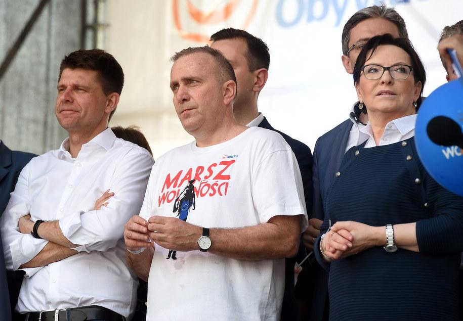 Przewodniczący PO Grzegorz Schetyna, posłanka PO Ewa Kopacz i lider Nowoczesnej Ryszard Petru /Radek Pietruszka /PAP
